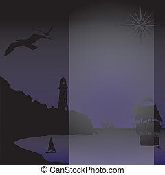 silhouettes of night seascape
