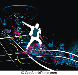 Silhouettes of of Rock man and sings into the mic wave line, illustration