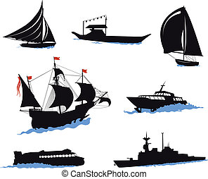 Silhouettes of offshore ships - yacht, fishing boat, the...