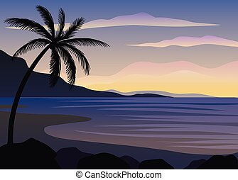 Silhouettes of palm trees.. Vector illustration on white background.