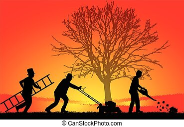 Silhouettes of people cleaning the garden.