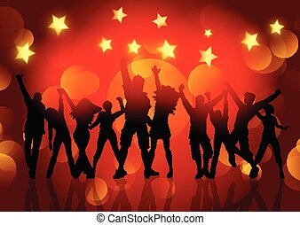 silhouettes of people dancing on bokeh lights and stars background 1412