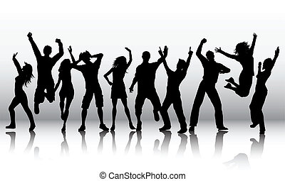 Silhouettes of a group of people dancing