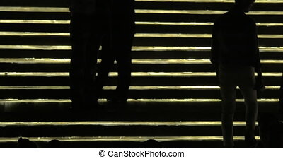 Silhouettes of people going up and down against lighting...