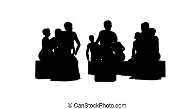 Silhouettes of people in a circle on a white background 4k