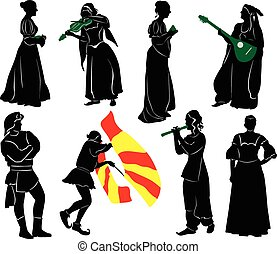 Silhouettes of people in medieval costumes. Musicians,...