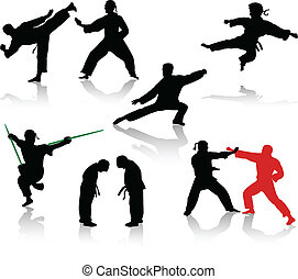 Silhouettes of people in positions of karate and taekwondo