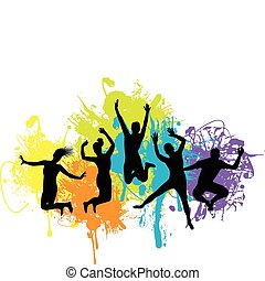 silhouettes of people jumping and dancing