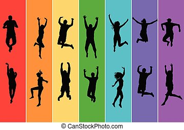 Silhouettes of people jumping on rainbow background