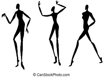 silhouettes of people moving - sketch of fashion model -...