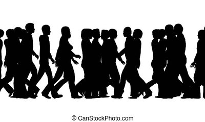 Silhouettes of people on a white