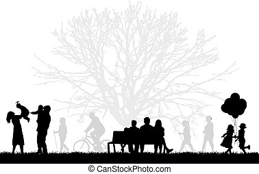 Silhouettes of people on the outside