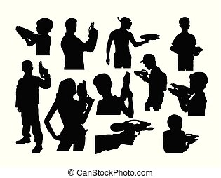 Silhouettes of People Playing Water Shots