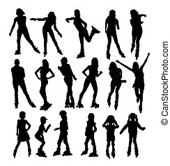 Silhouettes of People Rollerskating