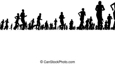 Silhouettes of people running on a white background. 4k