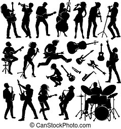 silhouettes of people - set of musicians with their...