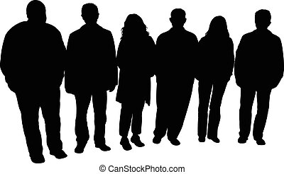 silhouettes of people,