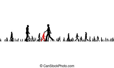 Silhouettes of people walking. Business concept. Among the black silhouettes of people, one is red.