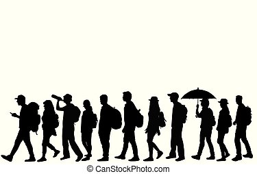 Silhouettes of people walking.