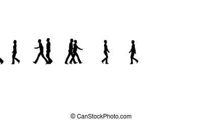 Silhouettes of people walking on white. People Business lifestyle concept.