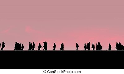 Silhouettes of people with children walk and ride bicycles