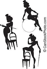 silhouettes of cabaret or burlesque female artis