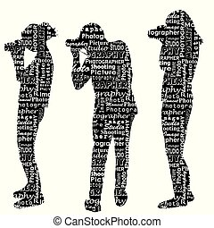 Silhouettes of photographers with messages words on the topic of photography