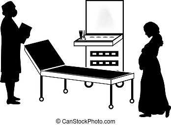 Silhouettes of pregnant women and doctor at ultrasound machine medical. Illustration symbol icon