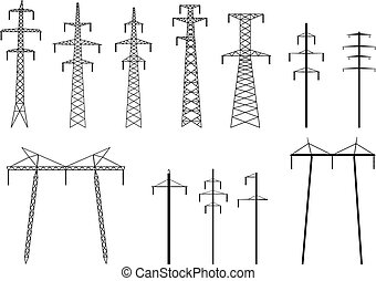 Set of vector silhouettes of high voltage electric transmission line tower, isolated on white.