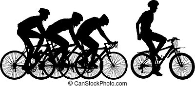 Silhouettes of racers on a bicycle, fight at the finish...