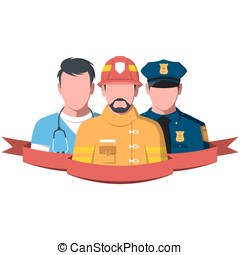 Silhouettes of rescue workers paramedic, firefighter and...