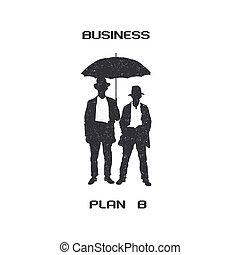 Silhouettes of retro businessmen with umbrella