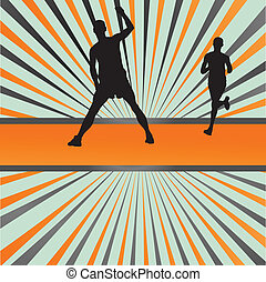 Silhouettes of runners vector background