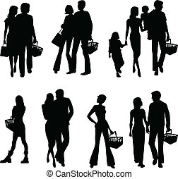 silhouettes of shopping people