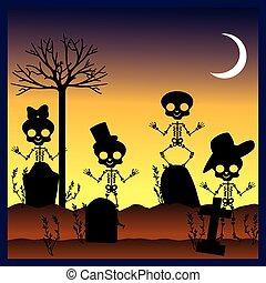 silhouettes of skulls in graveyard