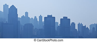 Silhouettes of skycrapers, blue tone - Silhouettes of ...
