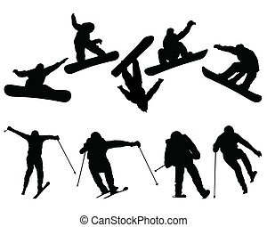 snowboard and ski jumpers - Silhouettes of snowboard and ski...