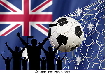 silhouettes of Soccer fans with flag of Australia. Cheer Concept