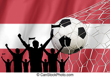 silhouettes of Soccer fans with flag of Austria. Cheer Concept