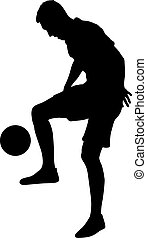 silhouettes of soccer players with the ball on white background