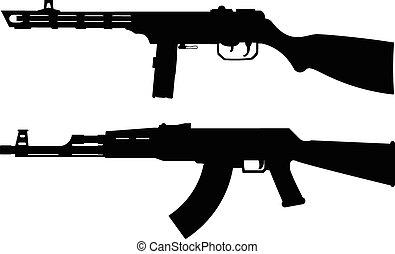 silhouettes of soviet machine guns