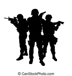 Silhouettes of special weapons and tactics SWAT team in action