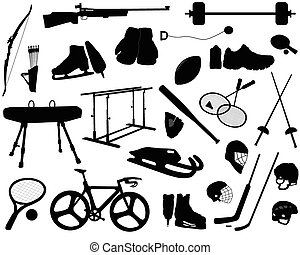 sports equipment - Silhouettes of sports equipment,...