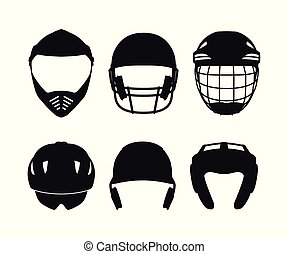 Silhouettes of sports helmets on white background