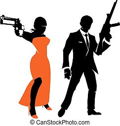 Silhouettes of spy couple. Vector characters