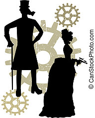 Silhouettes of Steampunk Victorians grungy gear - Abstract...