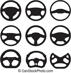 Silhouettes of steering wheels - The vector image of various...
