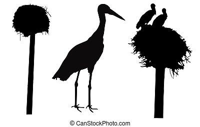 Silhouettes of stork bird, nest, set. Vector illustration