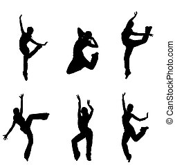 silhouettes of street dancers