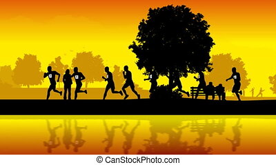 Silhouettes of street runners.